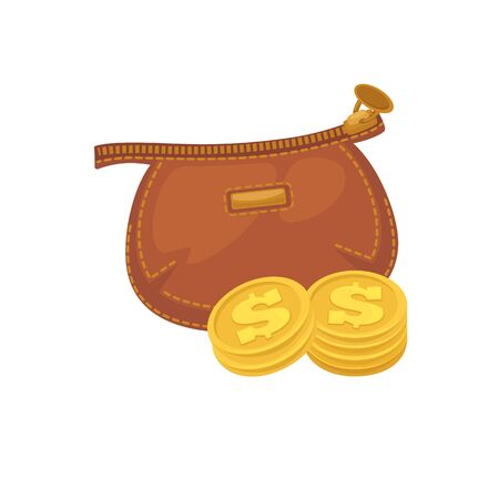 Wallets with money shopping. Purse  cash. Illustration