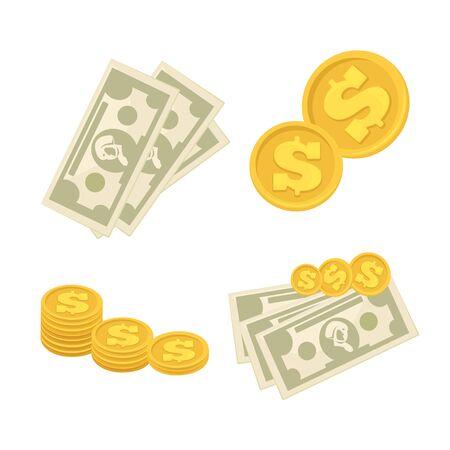 Set of cash paper money and coins. Illustration
