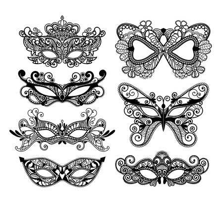 Mardi Gras mask of lace collection set. Vectores