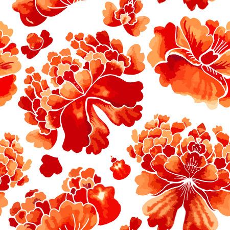 中国のシームレスなパターン。花飾りと水彩風壁紙。
