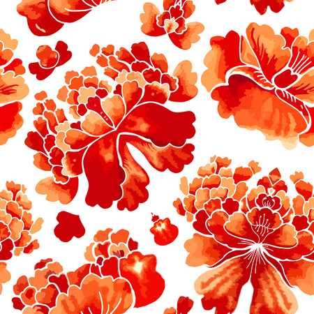 wallpaper floral: Seamless chinese pattern. Watercolor style wallpaper with floral ornament .