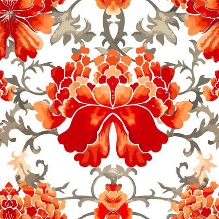 Nahtloses chinesisches Muster. Aquarellarttapete mit Blumenverzierung.