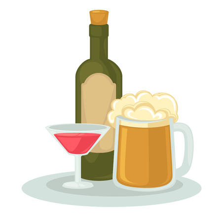 Alcohol drinks: wineglass, bottle of wine and glass of beer. Illustration