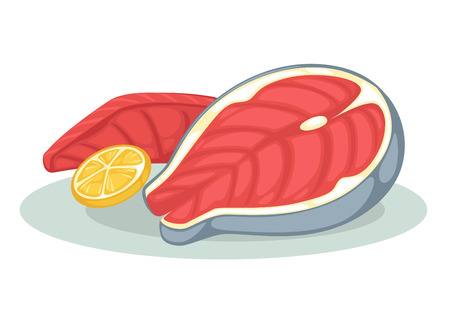 red fish: Piece or slice red fish. Raw salmon steak - fresh and healthy seafood.