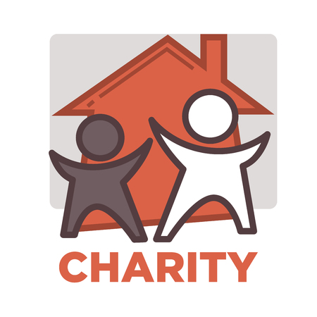 asociacion: La donación y el trabajo voluntario icono Vectores