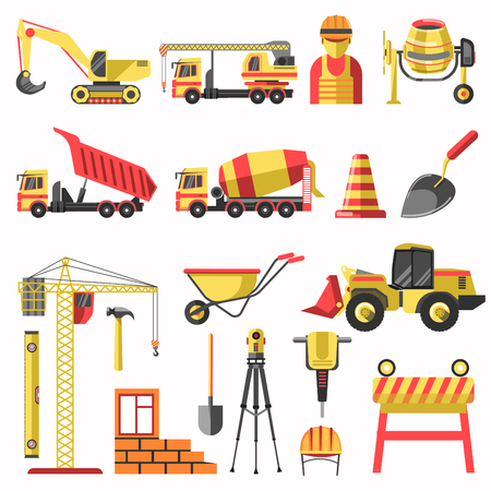 equipment work: Building or construction vector icons of builder worker, crane, concrete mixer machine and tractor bulldozer. House brickwork and work tools of jackhammer, spade or trowel and measure level equipment