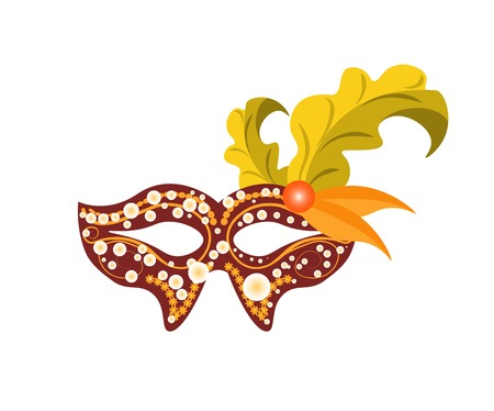 masque: Carnival mask for Venetian masquerade or Mardi Gras festival or party. Vector illustration of isolated masque icon with hand made feather decorations, ornate laces and bead sequins