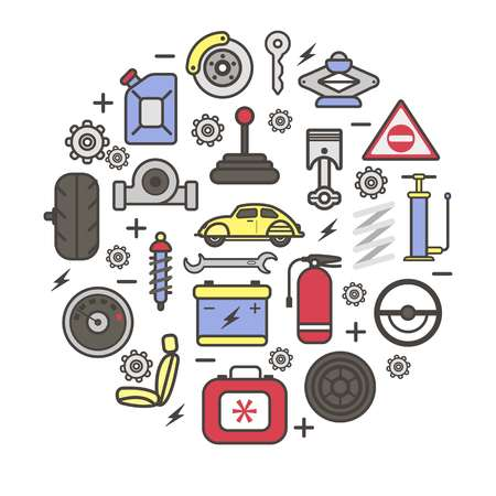 damper: Car spare parts and details of gear, motor engine, wheel tire pump, accumulator, driver chair and speedometer. Vector auto service poster of cogwheel and spark plug, gasoline can and ignition key
