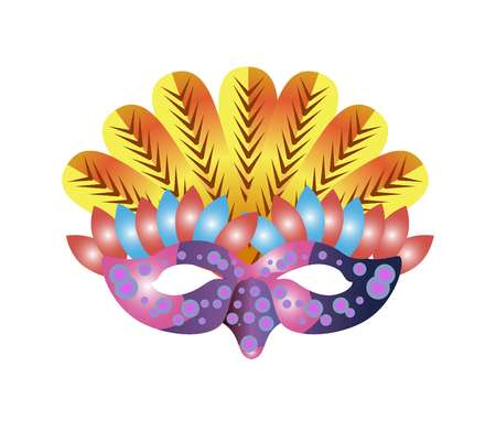 costume ball: Carnival mask for Venetian masquerade or Mardi Gras festival or party. Vector illustration of isolated masque icon with hand made feather decorations, ornate laces and bead sequins