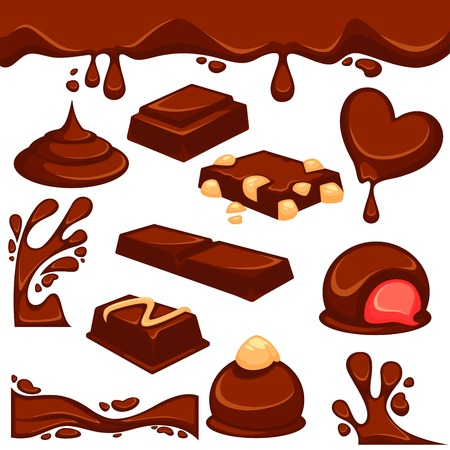 Vector icons of sweet choco fondant or cocoa pastry products with nut or cream filling. Chocolate dripping splash drops and confectionery desserts of truffle candy bars and confections. Illustration