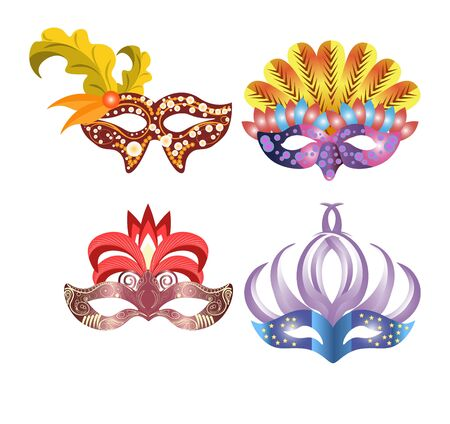 masque: Carnival masks for Venetian masquerade or Mardi Gras festival or party. Vector illustration of isolated masque icons with hand made feather decorations, ornate laces and bead sequins