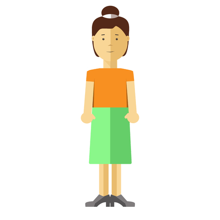 woman middle age: Woman or young girl flat illustration. Vector isolated character of asian or caucasian middle age adult or adolescent female teenager person with black hair in dress