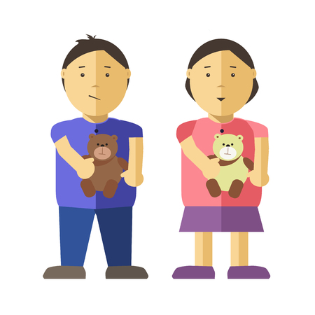 asian children: Girl and boy children or kids flat illustration. Vector isolated characters of asian or caucasian female and male young infant or child persons or with bear or puppy toys Illustration