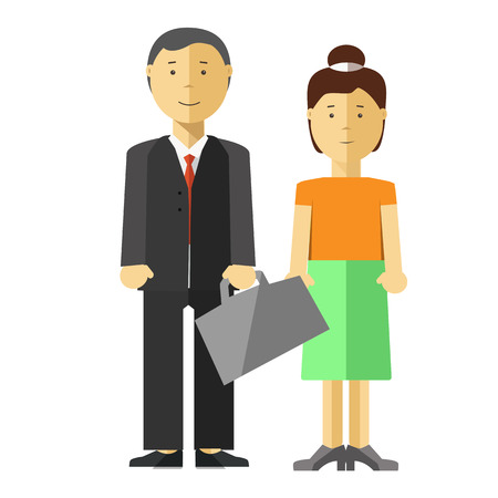 woman middle age: Man and woman family couple vector flat illustration. Wife in casual dress and husband businessman worker or manager of middle age with paper bag in suit. Asian or caucasian isolated characters Illustration