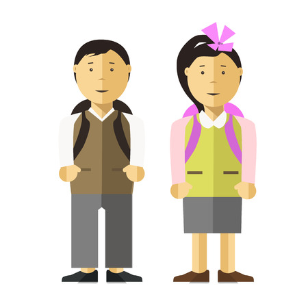 asian children: Schoolboy and school girl children flat illustration. Vector isolated characters of pupils or schoolkid boy with school backpacks. Asian or caucasian female and male young teenager persons