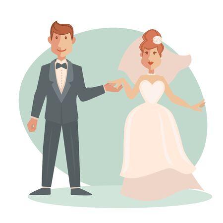 wedding bride: Groom and bride wedding vector illustration