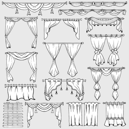 portiere: Curtains, window shades and drapery icons