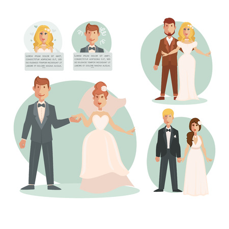 wedding bride: Groom bride wedding vector illustration template