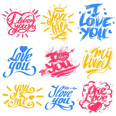 letter: I love you text vector Valentine lettering