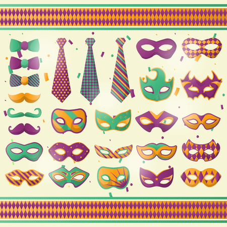 traditional pattern: Mardi Gras wear decoration vector icons set