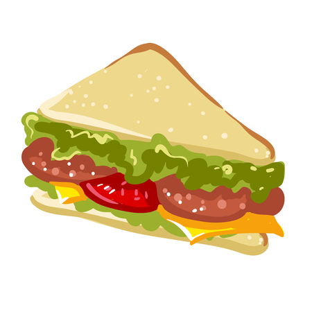 Sandwich panini fast food flat vector icon