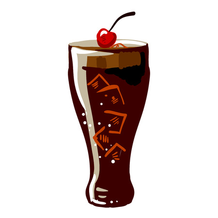 bebida: Soda dink glass vector fast food icon plana