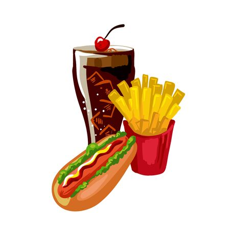 fast meal: Fast food meal and drink set, flat icons Illustration