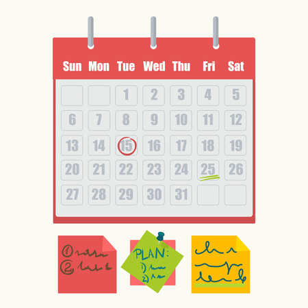 pad: Calendar marks and sticky notes vector icons Illustration