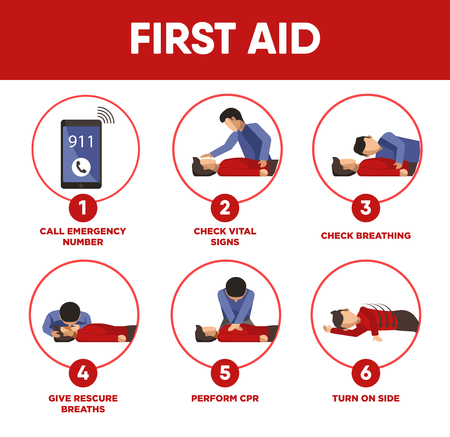 instruct: First aid instructions infographics and vector icons of medical Illustration