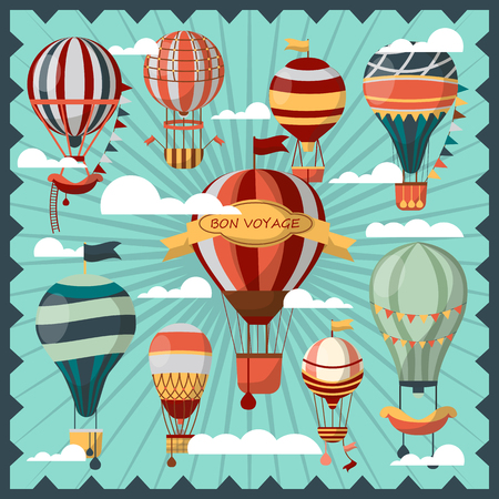 invent: Bon Voyage Air Balloons in Clouds Collection.
