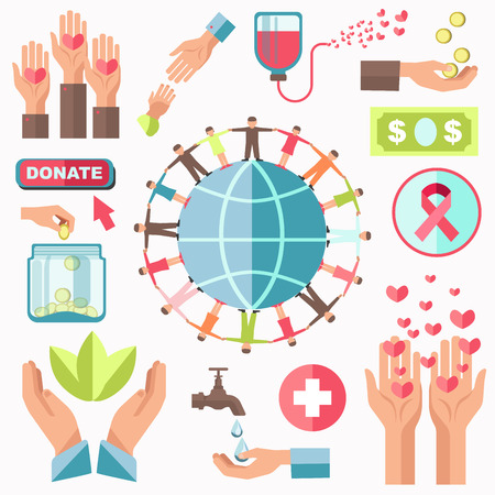 Charity Concept Vector Set. Money Donating and Help Illustration