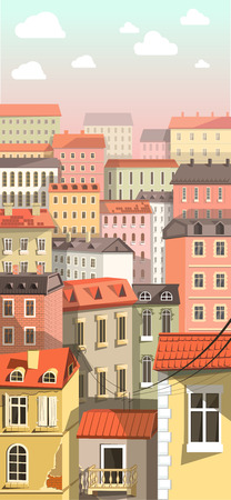 clouds: Old and Modern Buildings in Town in Flat Style Illustration