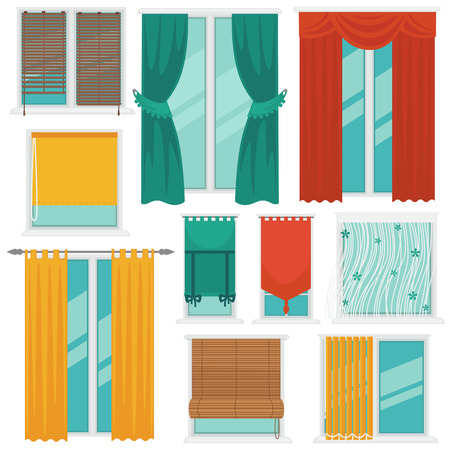 window shade: Curtains on Windows Colourful Vector Collection