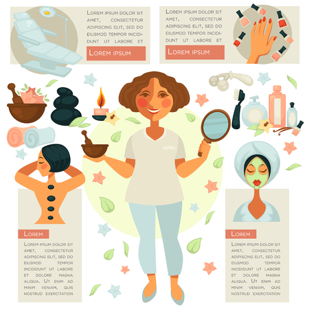 ?osmetician in centre stands with mirror and bowl. Vector web set emblems of hand with nail polishes, female person with facemask, woman with stones on back, treatment chair with text information Illustration