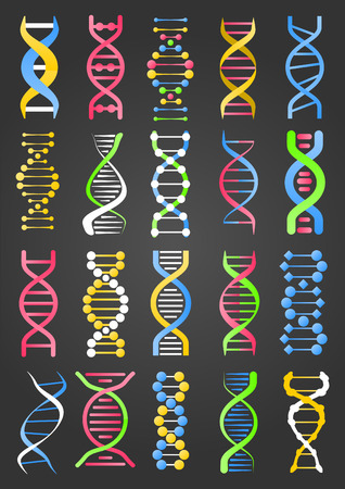DNA Molecule Strand Signs Collection on Black Stock Vector - 71453404