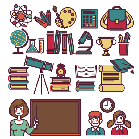 book: School Objects Poster with Teacher and Children
