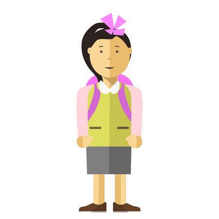 uniform green shoe: Schoolgirl in Uniform Isolated with Backpack.