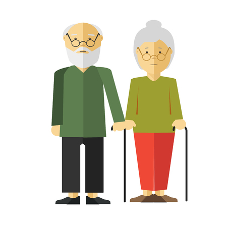 pensionary: Elderly Standing Couple with Sticks on White. Illustration