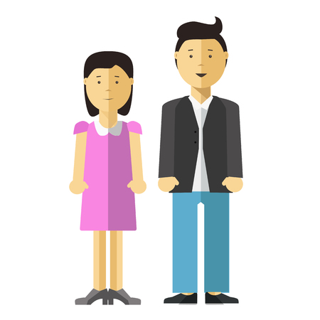 Adults Couple Full Length Portrait Isolated