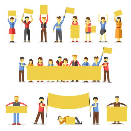 alzando la mano: Las personas en huelga sostienen banderas amarillas vacías.