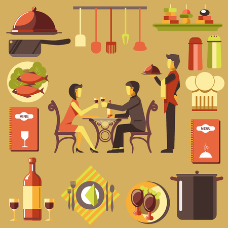plate: Couple Spending Time at Restaurant and Waiter near