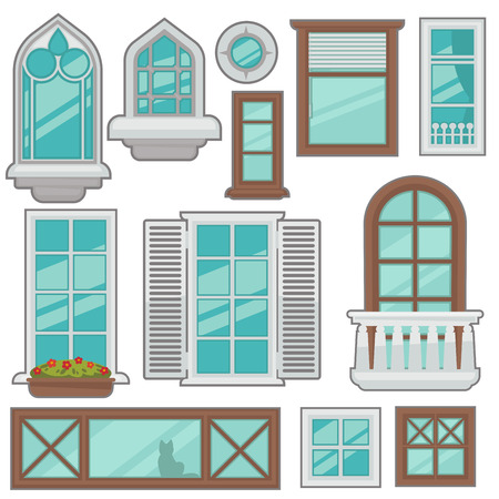 home icon: Vector windows collection of various types. Illustration