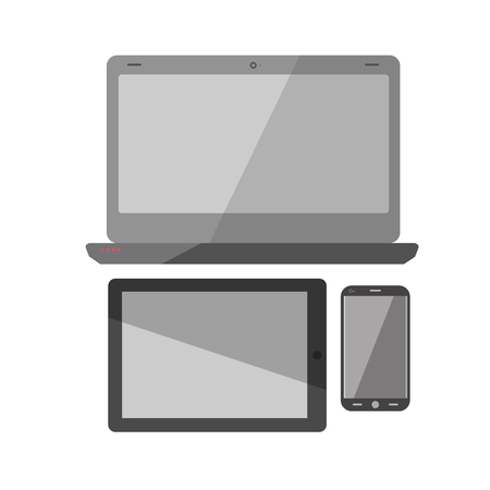 Computer laptop, smartphone and pad vector icons