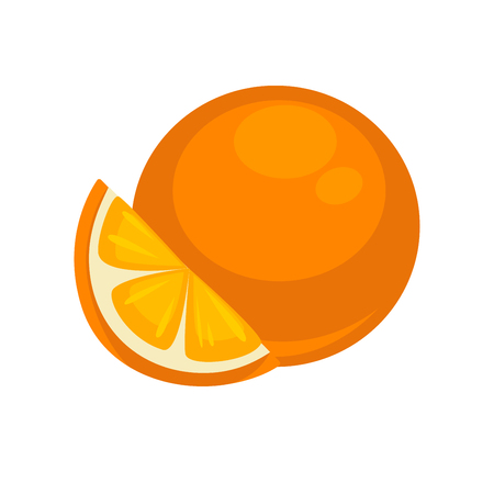 isoated: Orange Tropical Fruit Isolated on White. Mandarin Illustration