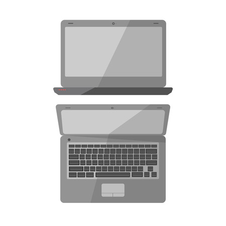 Laptop computer, notebook or netbook vector icons