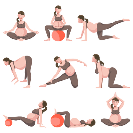 Yoga for Pregnant Women Icons Collection on White