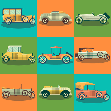 cabrio: Retro cars and collector autos vector flat set