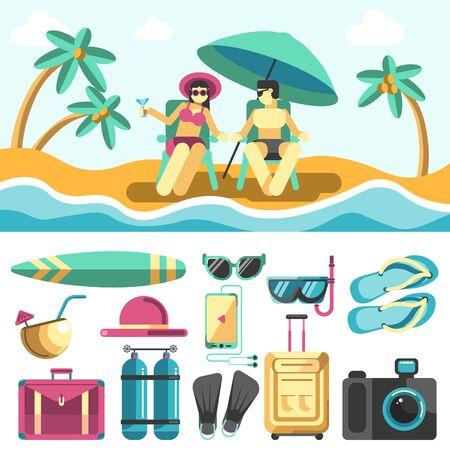 palm: Woman and Man Lying on Sunbeds on Summer Beach