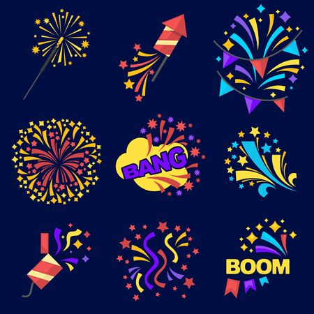blasting: Fireworks Bangs Collection on Dark Blue Background