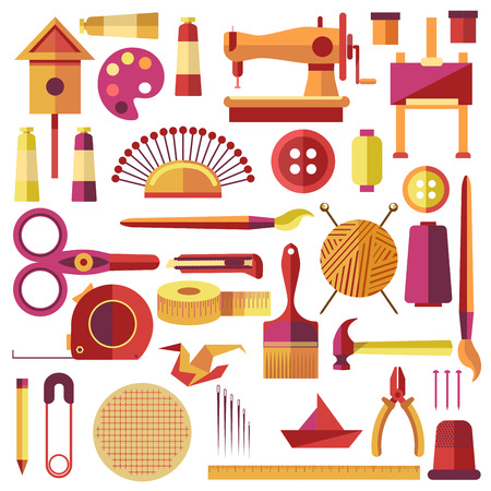 textiles: Equipments Vector Poster for Sewing and Handmade